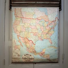 Antique pull down map... old school classroom love!