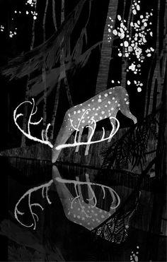 Victoria Antolini . https://www.etsy.com/listing/157347415/deer-art-black-and-white-print-deer?ref=shop_home_active_18