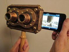 スチームパンクなビューアー >Steampunk iPhone 3D Stereoscope Viewer