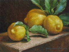 Robin Anderson Fine Art: Lemons on wood box Lemon Painting, Food Painting, Painting Still Life, Still Life Art, Pastel Watercolor, Watercolor Paintings, Art Paintings, Roman Art, Fruit Art