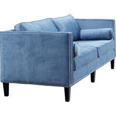 Dot & Bo Trevor Velvet Sofa found on Polyvore featuring home, furniture, sofas, nailhead couch, velvet sofa, velvet couch, velvet furniture and nail head sofa