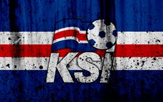 Download wallpapers Iceland national football team, 4k, logo, grunge, Europe, football, stone texture, soccer, Iceland, European national teams
