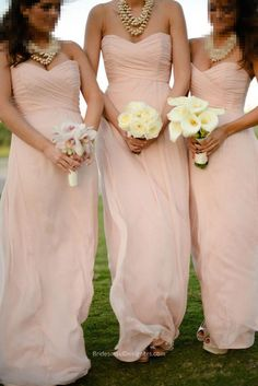 Long blush bridesmaid dress features chic strapless sweetheart bodice with pleats, long soft chiffon skirt flows to the floor feminine.