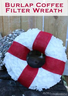 coffee filters paper wreath floral wreath diy wreath coffee filter ...