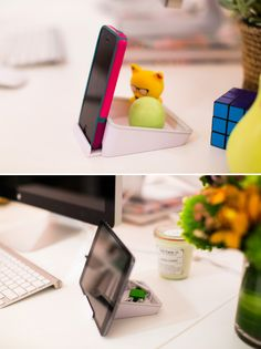 Add a smartphone or tablet dock to your desk.