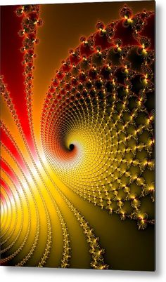 Glossy Spirals Metal Print for sale.  Yellow, golden and red fractal spirals full of energy. The image gets printed directly onto a sheet of aluminum. Metal prints are extremely durable and lightweight. The high gloss of the aluminum complements the rich colors of the image. Matthias Hauser - Art for your Home Decor and Interior Design.