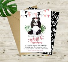 Invitación imprimible Panda 1 Birthday, Panda Birthday Party, Panda Party, 6th Birthday Parties, Party Invitations, Invite, Festa Party, For Your Party, Cleaning Tips