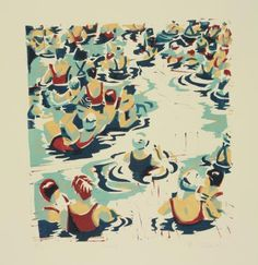 This Swimming print is a theme constantly returned to by modern British artist Paul Cleden. A linocut printed in four colours on somerset paper. Signed and numbered Artist Proof. Gravure Illustration, Illustration Art, Linoprint, Drawing Projects, A Level Art, Pottery Sculpture, Print Artist, Art Print, Wood Engraving