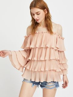 SheIn offers Mesh Shoulder Pleated Tiered Frill Top & more to fit your fashionable needs. Boho Summer Outfits, Trendy Outfits, Fashion Outfits, Women's Fashion, Designer Kurtis, Nice Dresses, Casual Dresses, Tiered Tops, Sleeves Designs For Dresses
