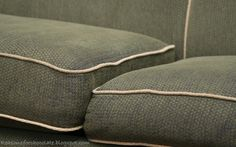 BEFORE and AFTER sofa cushion photos. A GREAT picture tutorial showing how to replace the cushions on your sofa.