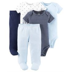 Child Of Mine By Carter's Newborn Baby Boy Bodysuits & Footed Pants, 5 Pc Set, Size: 3-6, Blue http://newborn-baby-care.us http://newborn-baby-care.us