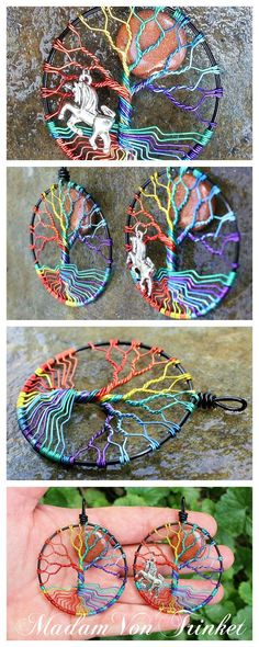 Rainbow Tree of Life Pendant, Tree of Life Necklace, Full Moon Wire Wrapped Jewelry Gay Pride Wire Wrapped Rainbow Tree of Life by MadamVonTrinkets - DIY Jewelry Crafts Ideen Tree Of Life Jewelry, Tree Of Life Necklace, Tree Of Life Pendant, Moon Necklace, Pendant Necklace, Trendy Tree, Wire Wrapped Jewelry, Wire Jewelry, Silver Jewellery
