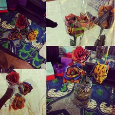 Ankara Flower arrangement: I purchased the long Stem roses from a woman in NYC, used a spaghetti sauce jar and some fabric from my collection to line the jar and set the flowers in place.