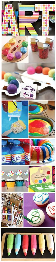 colorful creative art party birthday dessert table cookies cupcake paper craft
