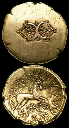 Celtic Gold Stater of Addedomaros. (S.202) Catuvellauni/Trinovantes tribes. Late 1st century BC. Obv - Addorsed crescents ornamented with pellets and linear elements. Rev - Horse, branch and spiral / wheel. Image by kind permission of: Ira & Larry Goldberg Auctioneers Inc.