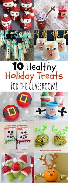 Send your kid with a healthier option for their classroom holiday party from this round-up of 10 Healthy Holiday Treats. They're all easy and kid-approved! holiday 10 Healthy Holiday Treats for the Classroom - MOMables School Christmas Party, Christmas Snacks, Preschool Christmas, Noel Christmas, Christmas Goodies, Holiday Treats, Holiday Fun, Healthy Christmas Treats, Holiday Parties