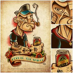 Tattoo idea for the biggest Popeye fan. 15 Illustrations Inspired by Popeye the Sailor Man #art #illustration