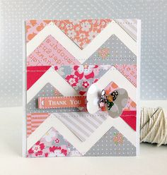 Are you looking for a way to use those stacks of patterned papers you have lying around? For my guest spot this week at Chickaniddy Crafts, . Chevron Cards, Patchwork Cards, Card Tricks, Beautiful Handmade Cards, Card Patterns, Butterfly Cards, Card Making Inspiration, Paper Cards, Creative Cards