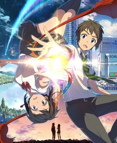 Anime Your Name. Mitsuha Miyamizu Taki Tachibana Kimi No Na Wa. Watch Your Name, Your Name Movie, Your Name Anime, Otaku Anime, Manga Anime, Anime Art, Kimi No Na Wa, Anime Films, Anime Characters