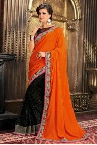 Net and Georgette Designer Saree In Orange and Black Colour