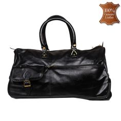 de67607712 Leather World 59 Liter Black Genuine Leather Designer Duffle with Zip  Closure Travel Bag
