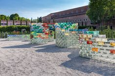 coinciding with the venice biennale, artist pae white has created a wall made of colored glass on the island of san giorgio maggiore.