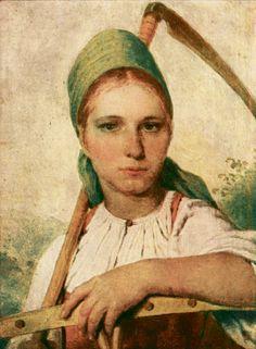 А. Г. Венецианов. Крестьянка с косой и граблями