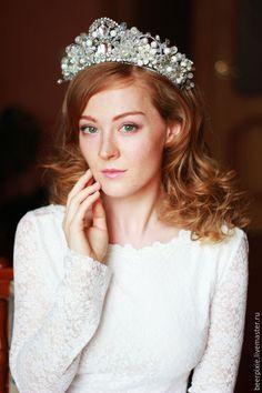 """Купить Свадебная диадема """"Хрустальная"""" - корона, корона для принцессы, корона для фотосессии, корона для девочки"""