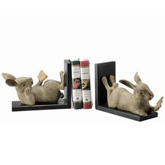 Reading Rabbits Bookends.