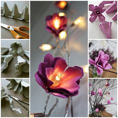 Egg Carton Craft-DIY Egg Carton Flower Lights » Cool Creativity
