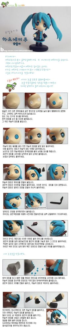 Hatsune Miku tutorial is great for the eyes so pretty. I love anime polymer clay things OMG Polymer Clay Kunst, Polymer Clay Animals, Polymer Clay Miniatures, Fimo Clay, Polymer Clay Projects, Polymer Clay Charms, Polymer Clay Creations, Polymer Clay Jewelry, Clay Crafts