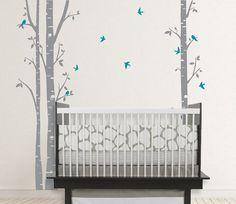 Birch trees vinyl decal birds nursery baby infant by OwlHills