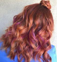 81 Auburn Hair Color Ideas in 2019 for Red-Brown Hair Red Purple Hair, Magenta Hair Colors, Purple Hair Highlights, Red Brown Hair, Hair Color Shades, Hair Color Auburn, Red Hair Color, Green Hair, Colored Streaks In Hair