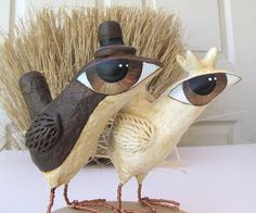 Wedding Cake Topper - Big Eye Birds - Love Birds in Paper Mache