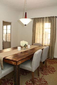 Love the table, chairs, rug & burlap runner. Emily Schuman's Modern Rustic Home House Tour Farmhouse Dining Room Table, Dining Room Table Decor, Dining Room Walls, Dining Room Design, Room Decor, Wood Table, Ikea Dining, Rustic Table, Rustic Chic