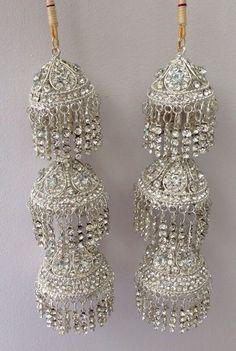 Amazing Indian Asian Wedding Bridal Kaleera Kalira - Silver with Diamonds