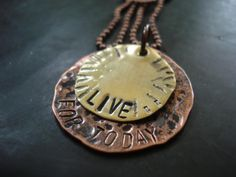Hand Stamped Jewelry- Live for Today inspirational necklace-