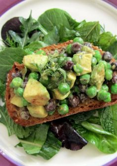 Avocado Spring Pea Tartine is a great detox meal.