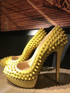 7d704a45bebd High Heel Shoes · Christian Louboutin Bianca Spikes yellow www.  highheelhierarchy.com Spikes