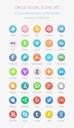35 Circle Social Media Icons in PSD & PNG