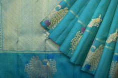 Saris / All Saris - Parisera Ethnic Sarees, Indian Sarees, Silk Sarees, Saris, Indian Wedding Outfits, Indian Weddings, Indian Outfits, Sky Blue Saree, Baluchari Saree