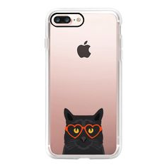 Funny black cat meme joke illustration hipster glasses summer cute... (54 CAD) ❤ liked on Polyvore featuring accessories, tech accessories, iphone case, cat iphone case, iphone cell phone cases, iphone cover case, slim iphone case and iphone cases