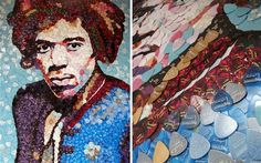 Mosaic of guitar star Jimi Hendrix - created by Manchester artist Ed Chapman who was commissioned by Fender - made from 4,000 Fender plectrums on display in London