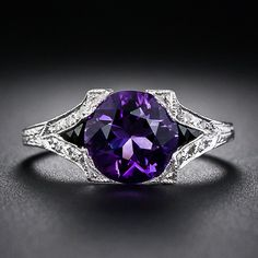 An entrancing deep purple faceted amethyst, dramatically accented with black onyx calibre and embellished with tiny twinkling diamonds, glows from within a recently made platinum ring created to emulate Art Deco jewels. An enchanting beauty. Vintage Anniversary Rings, Diamond Anniversary Rings, Wedding Rings Vintage, Art Deco Jewelry, Jewelry Rings, Fine Jewelry, Jewelry Design, Amethyst And Diamond Ring, Amethyst Jewelry