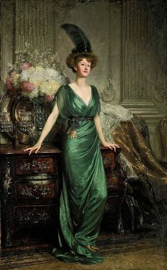 Victorian British Painting: Frank Dicksee.Portrait of the Hon. Mrs Ernest Guinness (1912)