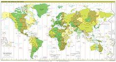 Tijdzonekaart met alle tijdzones