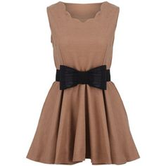 Sleeveless Bow Embellished Belted Khaki Dress