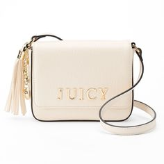 Juicy Couture Darling Flap Crossbody Bag ($30) ❤ liked on Polyvore featuring bags, handbags, shoulder bags, white oth, vegan handbags, white purse, cross-body handbag, handbags shoulder bags and white shoulder bag