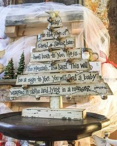 Buy Beautiful Distressed Decorative Wood Christmas Tree with Scripture from Walking Pants Curiosities, the Most un-General Gift Store in Downtown Memphis, Tennessee! Pallet Christmas Tree, Burlap Christmas, Christmas Door, Christmas Signs, Outdoor Christmas, Christmas Projects, Christmas Wreaths, Christmas Decorations, Christmas Ornaments