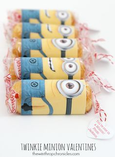 I LOVE THIS! Printable. YOU'RE ONE IN A MINION VALENTINE..this would be great wrapped around a twinkie
